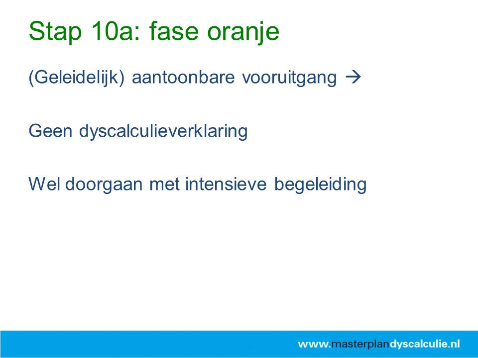 Stap 10a: fase oranje (Geleidelijk) aantoonbare vooruitgang 