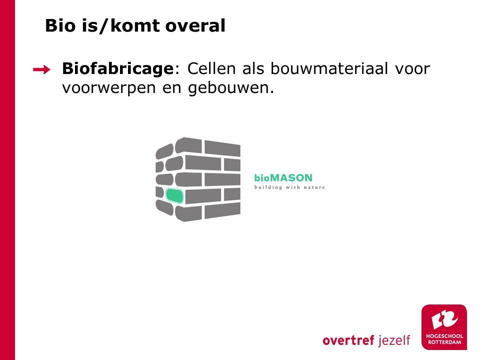 Bio is/komt overal Biofabricage: Cellen als bouwmateriaal voor voorwerpen en gebouwen.
