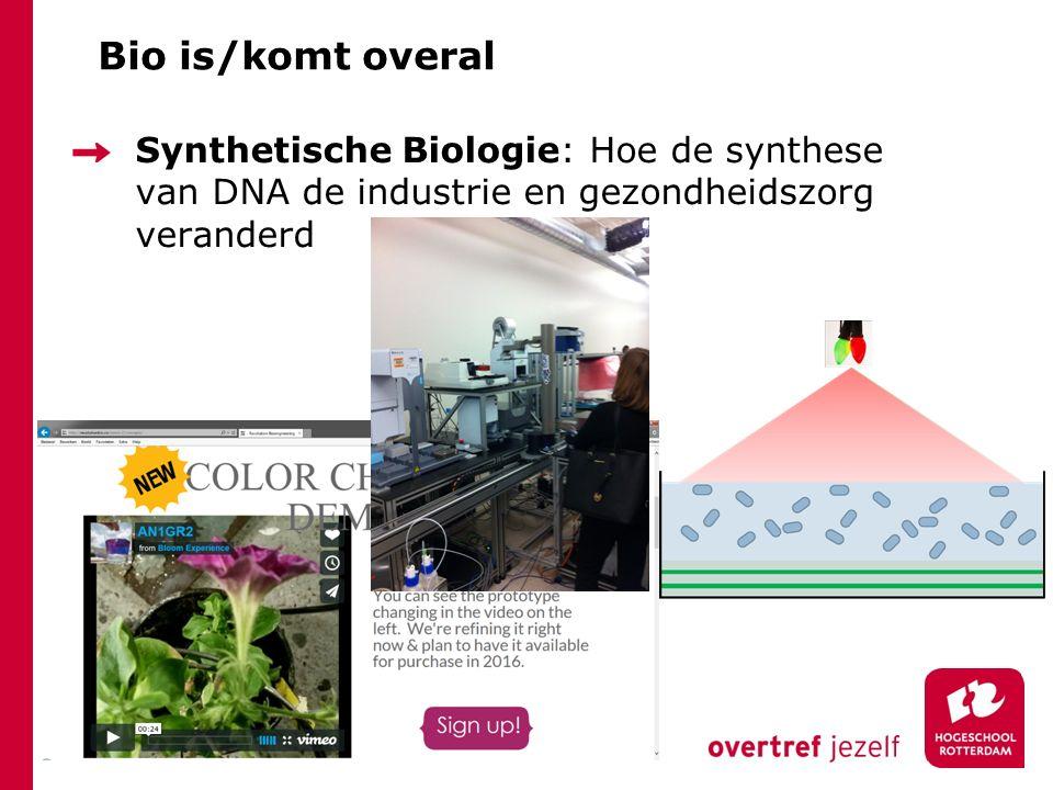 Bio is/komt overal Synthetische Biologie: Hoe de synthese van DNA de industrie en gezondheidszorg veranderd.