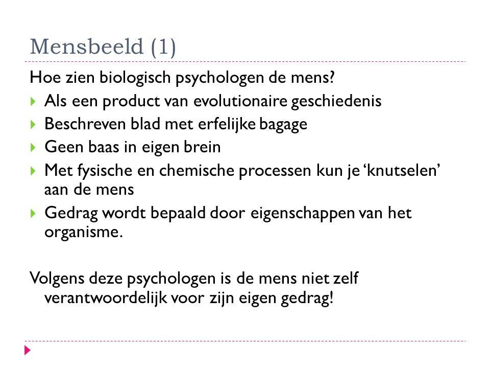 Mensbeeld (1) Hoe zien biologisch psychologen de mens