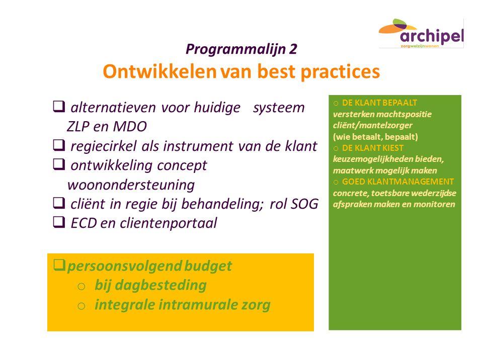 Programmalijn 2 Ontwikkelen van best practices