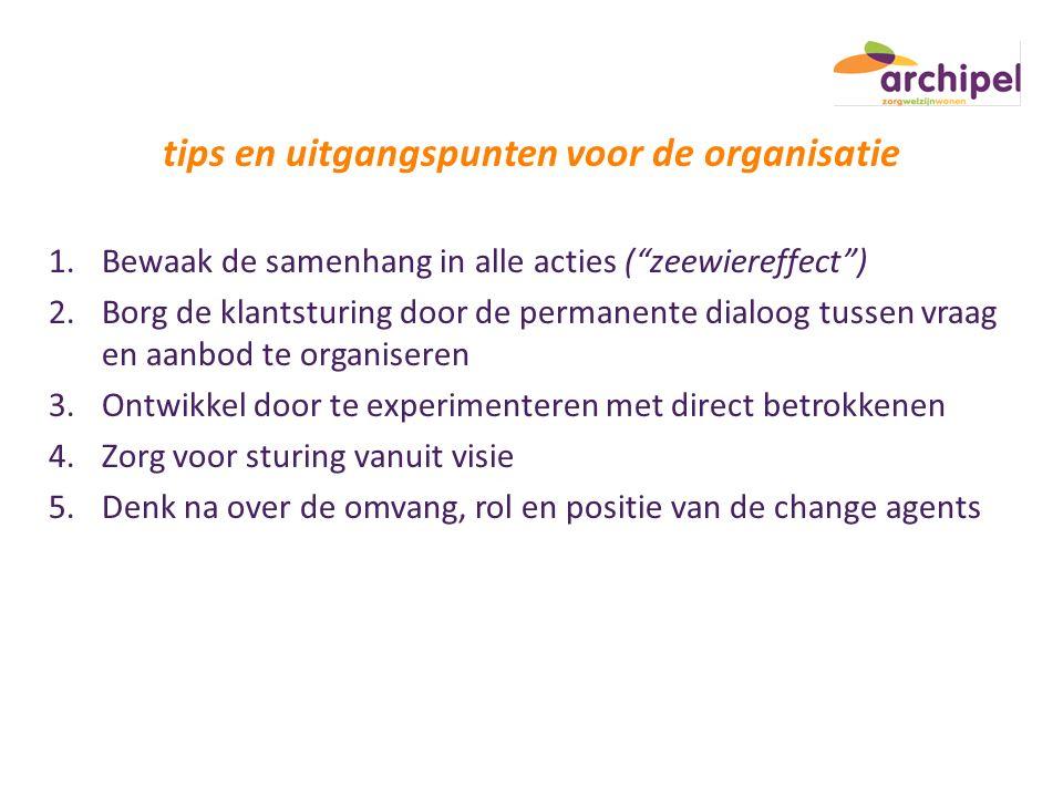 tips en uitgangspunten voor de organisatie