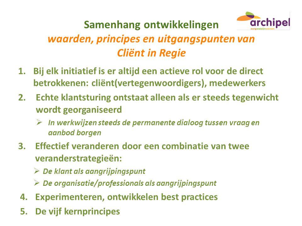 Samenhang ontwikkelingen waarden, principes en uitgangspunten van Cliënt in Regie