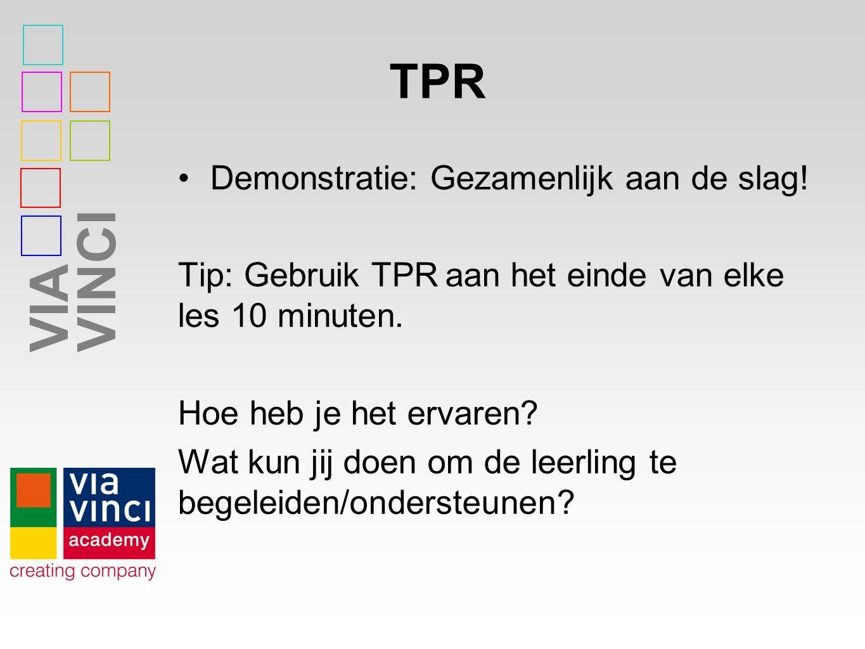 TPR Demonstratie: Gezamenlijk aan de slag!