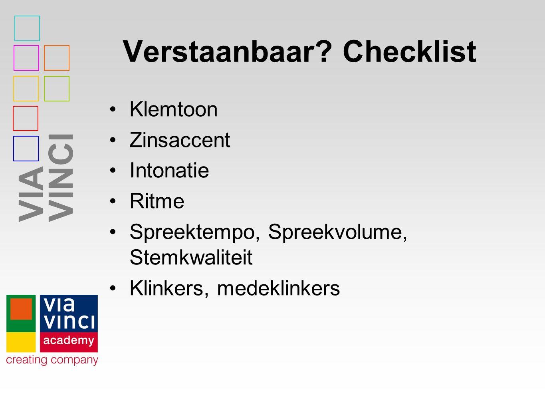 Verstaanbaar Checklist