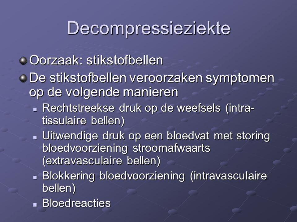 Decompressieziekte Oorzaak: stikstofbellen
