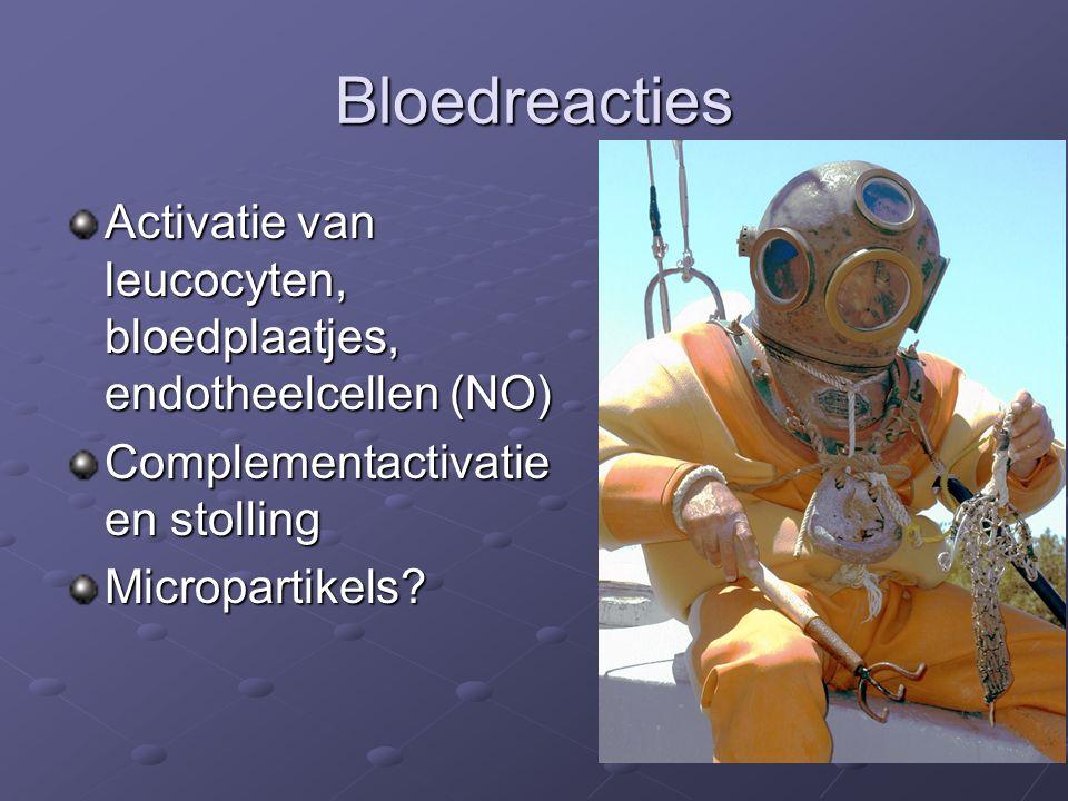 Bloedreacties Activatie van leucocyten, bloedplaatjes, endotheelcellen (NO) Complementactivatie en stolling.