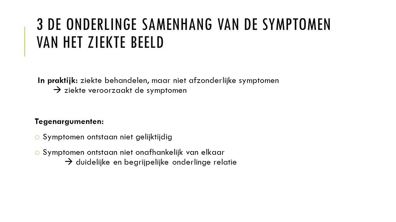3 De onderlinge samenhang van de symptomen van het ziekte beeld