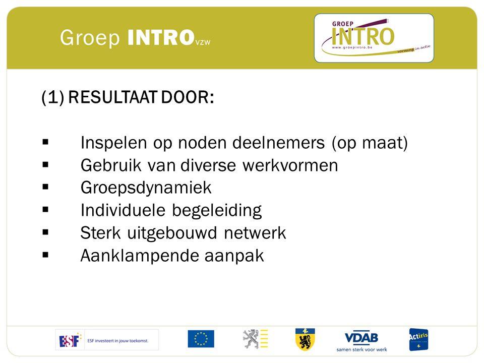 (1) RESULTAAT DOOR: Inspelen op noden deelnemers (op maat) Gebruik van diverse werkvormen. Groepsdynamiek.