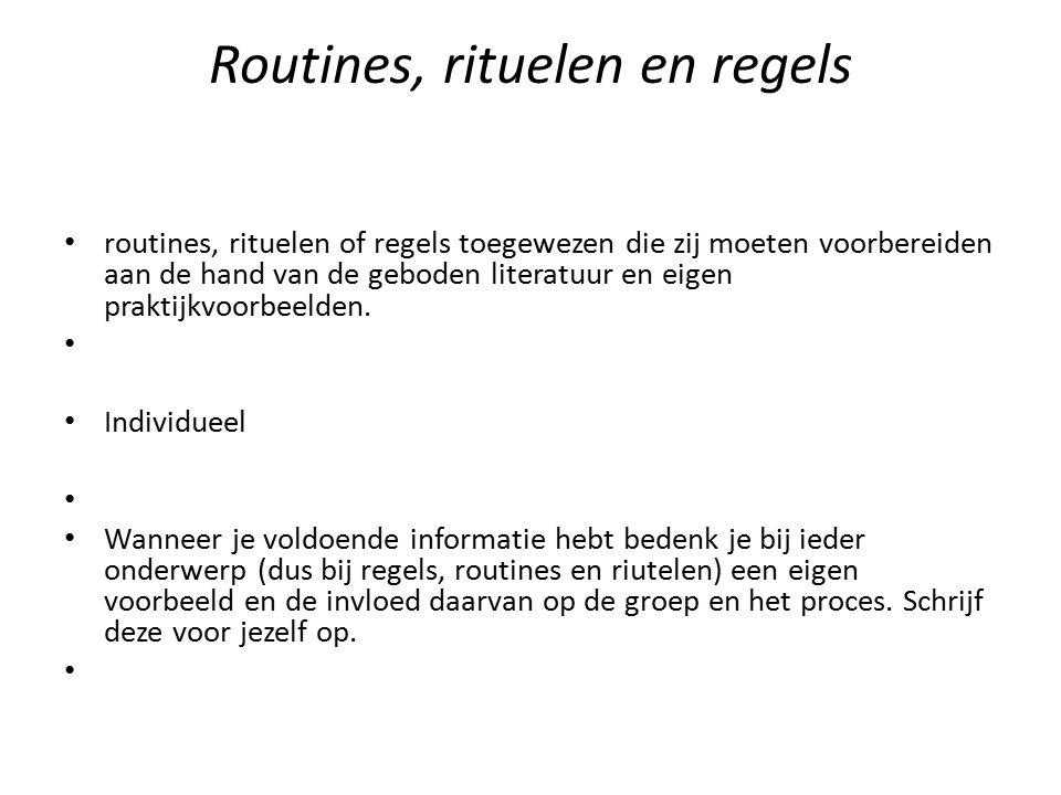 Routines, rituelen en regels
