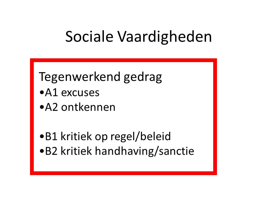 Sociale Vaardigheden Tegenwerkend gedrag A1 excuses A2 ontkennen