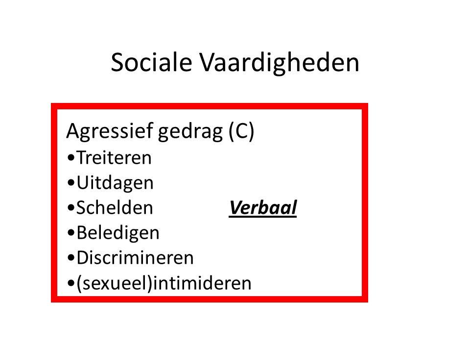 Sociale Vaardigheden Agressief gedrag (C) Treiteren Uitdagen