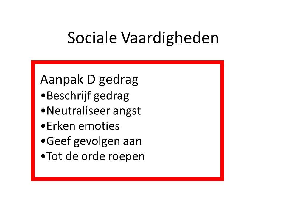 Sociale Vaardigheden Aanpak D gedrag Beschrijf gedrag