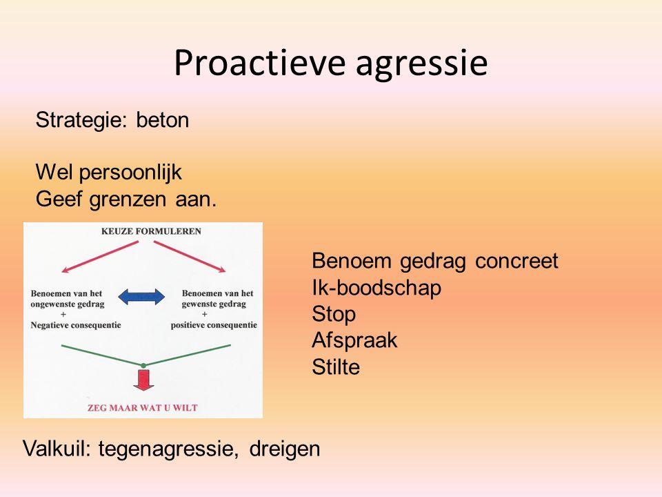 Proactieve agressie Strategie: beton Wel persoonlijk Geef grenzen aan.