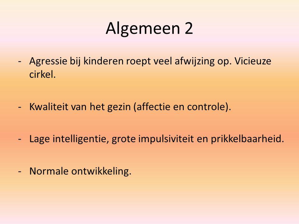 Algemeen 2 Agressie bij kinderen roept veel afwijzing op. Vicieuze cirkel. Kwaliteit van het gezin (affectie en controle).