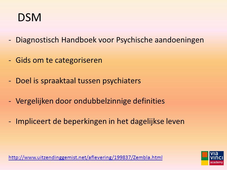 DSM Diagnostisch Handboek voor Psychische aandoeningen