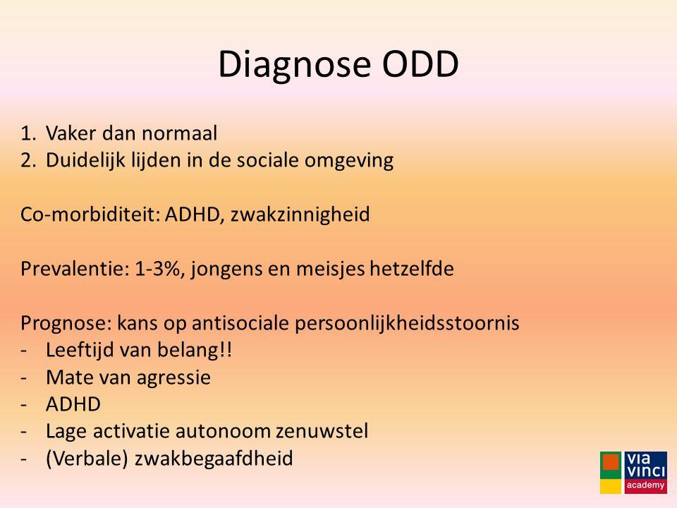 Diagnose ODD Vaker dan normaal Duidelijk lijden in de sociale omgeving