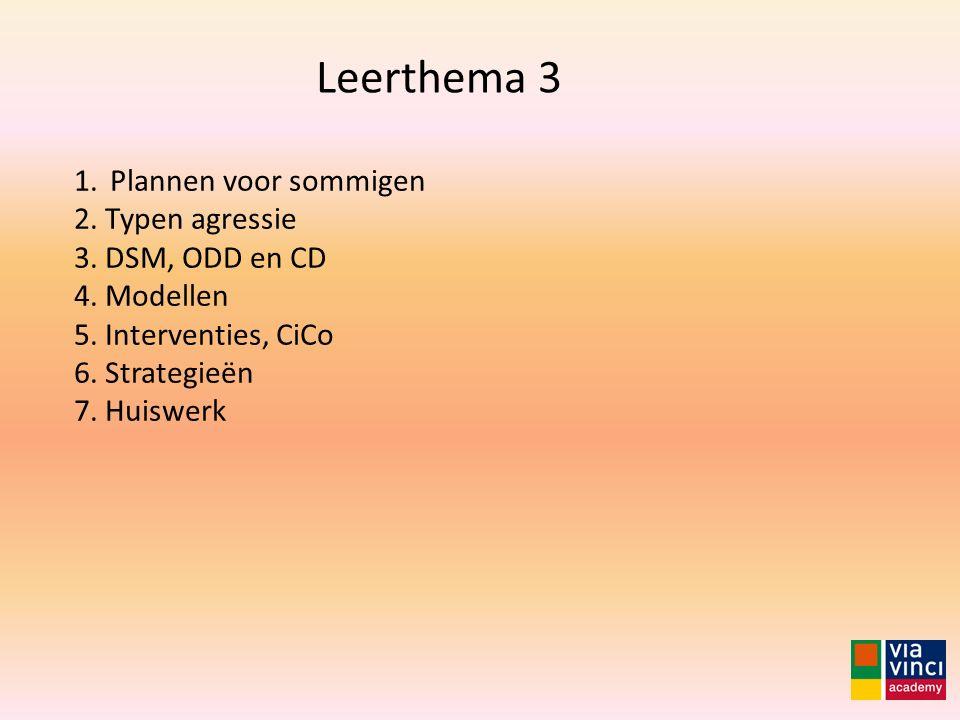 Leerthema 3 Plannen voor sommigen 2. Typen agressie 3. DSM, ODD en CD