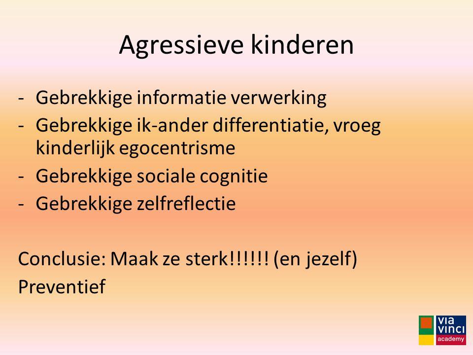 Agressieve kinderen Gebrekkige informatie verwerking
