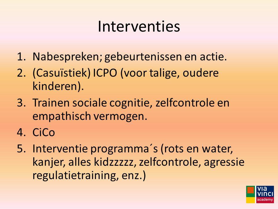 Interventies Nabespreken; gebeurtenissen en actie.