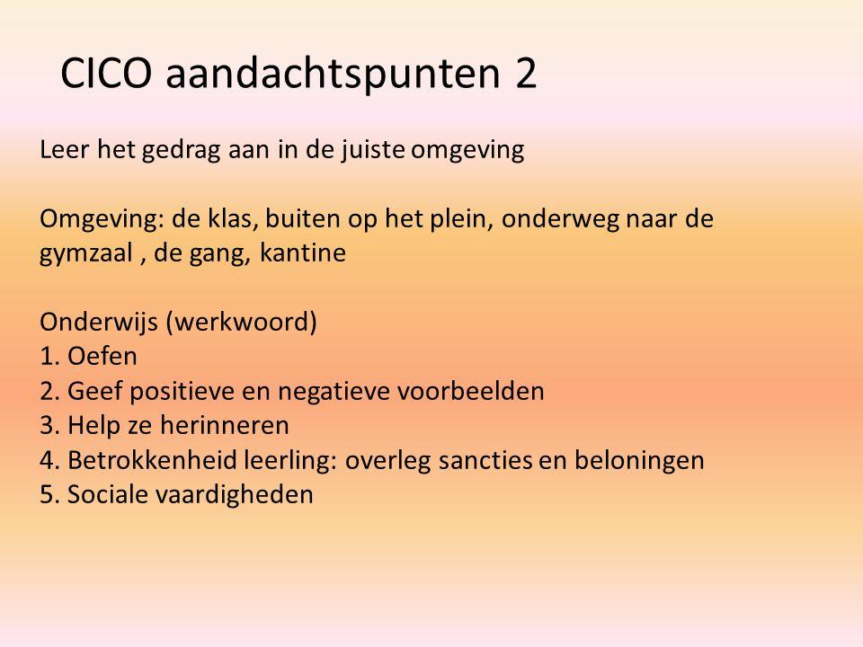 CICO aandachtspunten 2 Leer het gedrag aan in de juiste omgeving