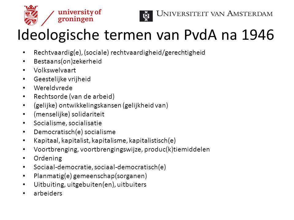 Ideologische termen van PvdA na 1946