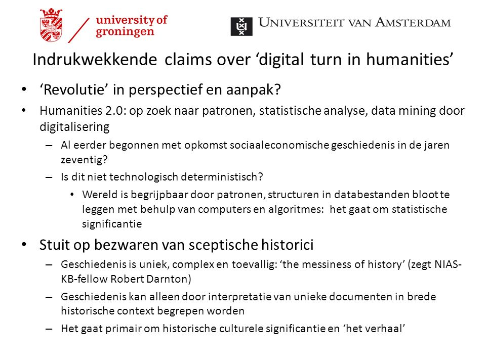 Indrukwekkende claims over 'digital turn in humanities'