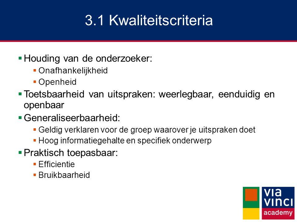 3.1 Kwaliteitscriteria Houding van de onderzoeker: