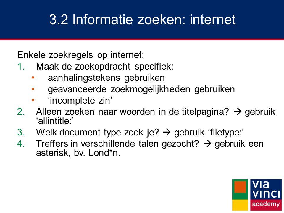 3.2 Informatie zoeken: internet