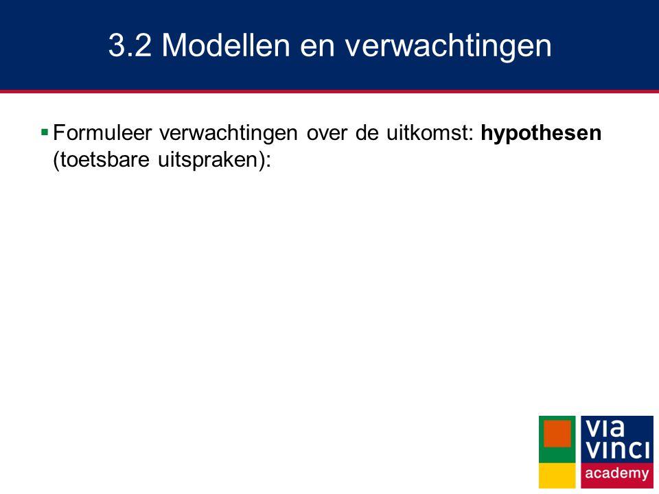 3.2 Modellen en verwachtingen