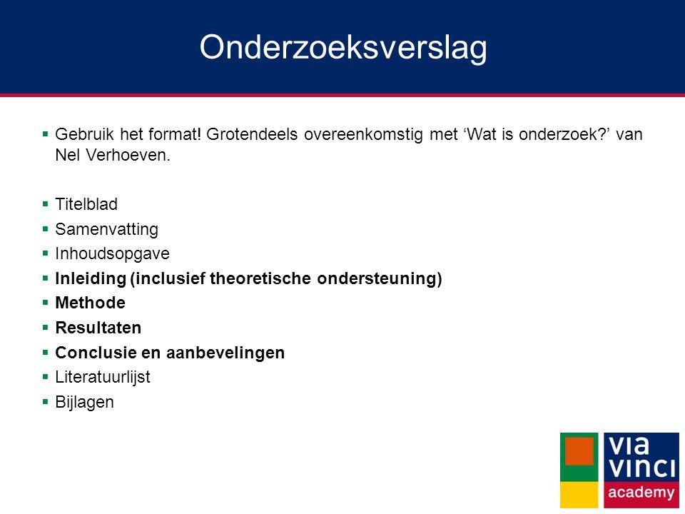 Onderzoeksverslag Gebruik het format! Grotendeels overeenkomstig met 'Wat is onderzoek ' van Nel Verhoeven.