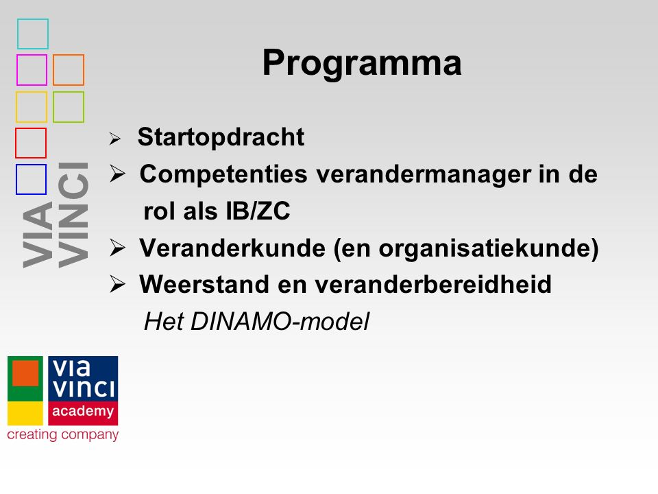 Programma Competenties verandermanager in de rol als IB/ZC