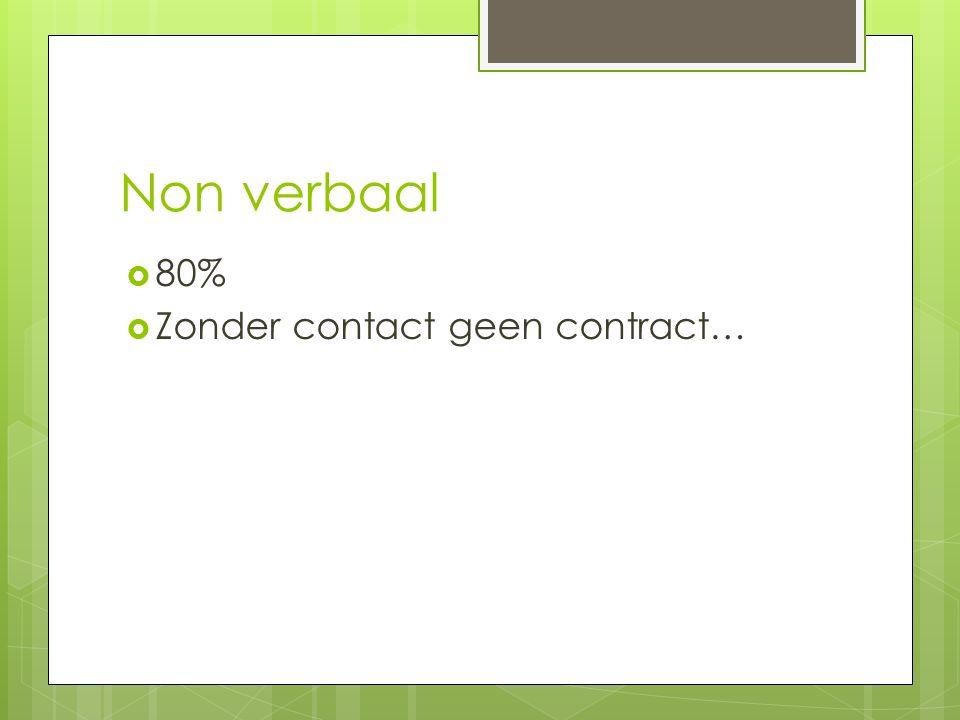 Non verbaal 80% Zonder contact geen contract…