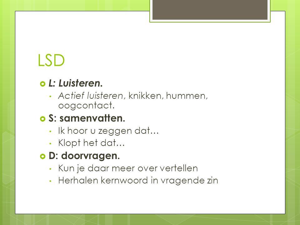 LSD L: Luisteren. S: samenvatten. D: doorvragen.