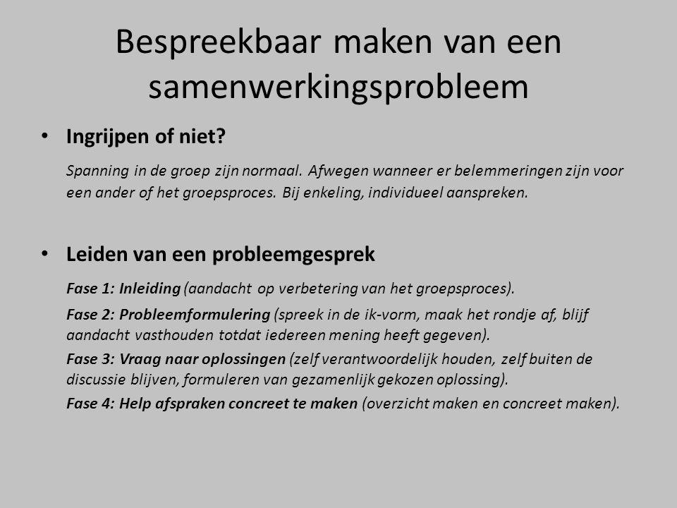 Bespreekbaar maken van een samenwerkingsprobleem