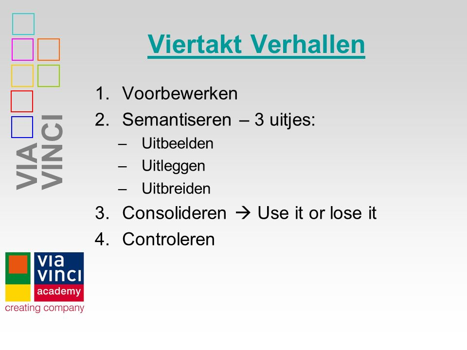 Viertakt Verhallen Voorbewerken Semantiseren – 3 uitjes: