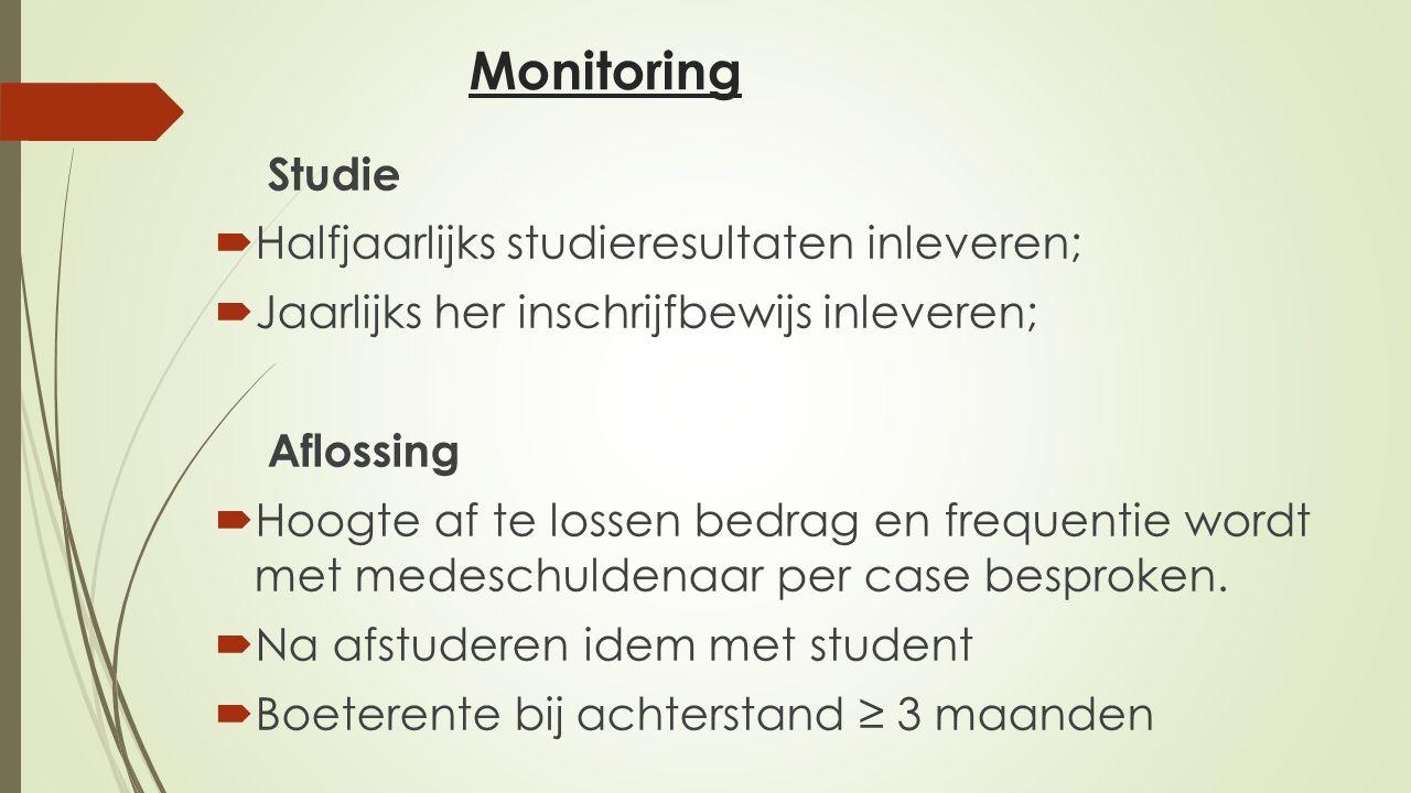 Monitoring Halfjaarlijks studieresultaten inleveren;