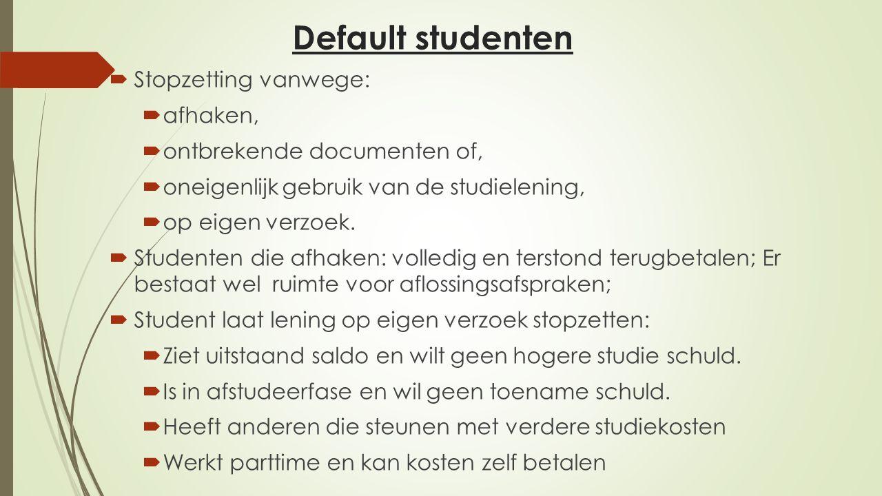 Default studenten Stopzetting vanwege: afhaken,