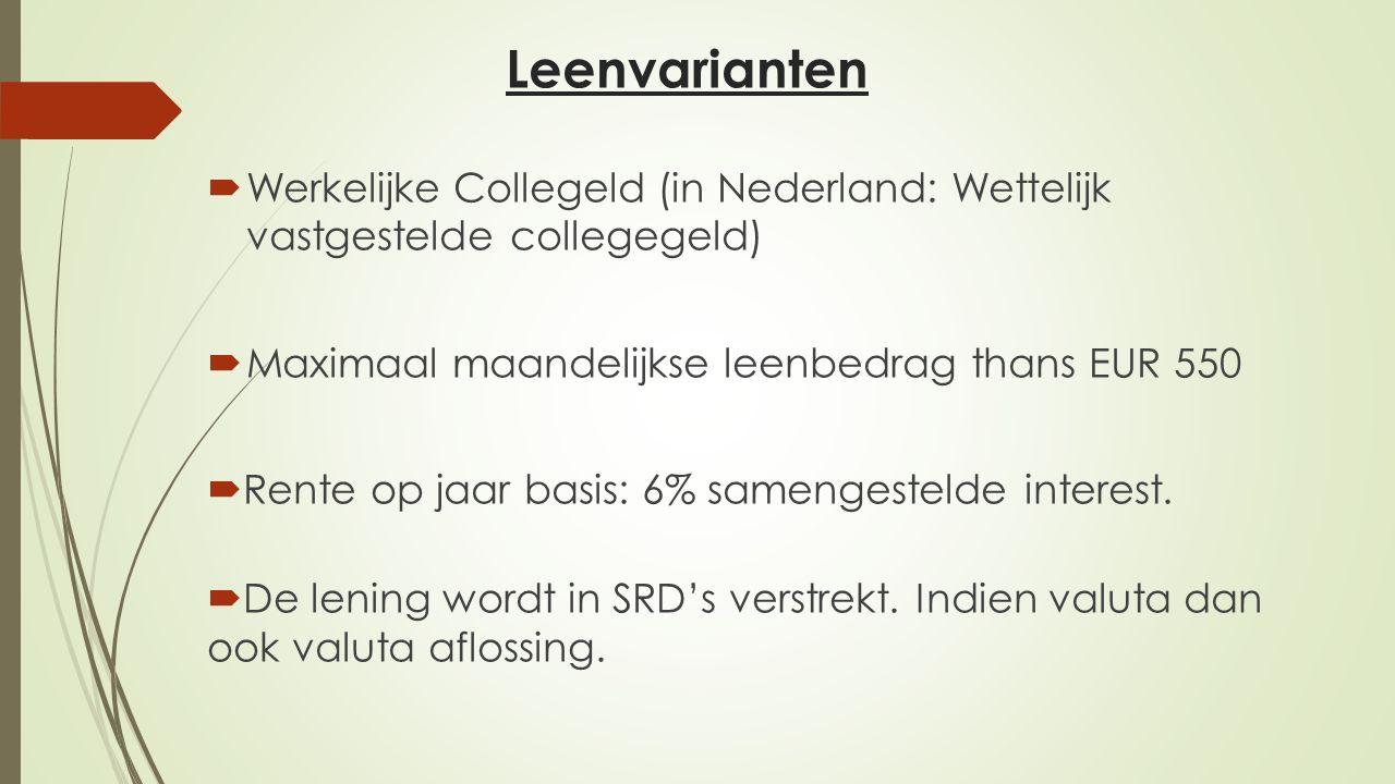 Leenvarianten Werkelijke Collegeld (in Nederland: Wettelijk vastgestelde collegegeld) Maximaal maandelijkse leenbedrag thans EUR 550.