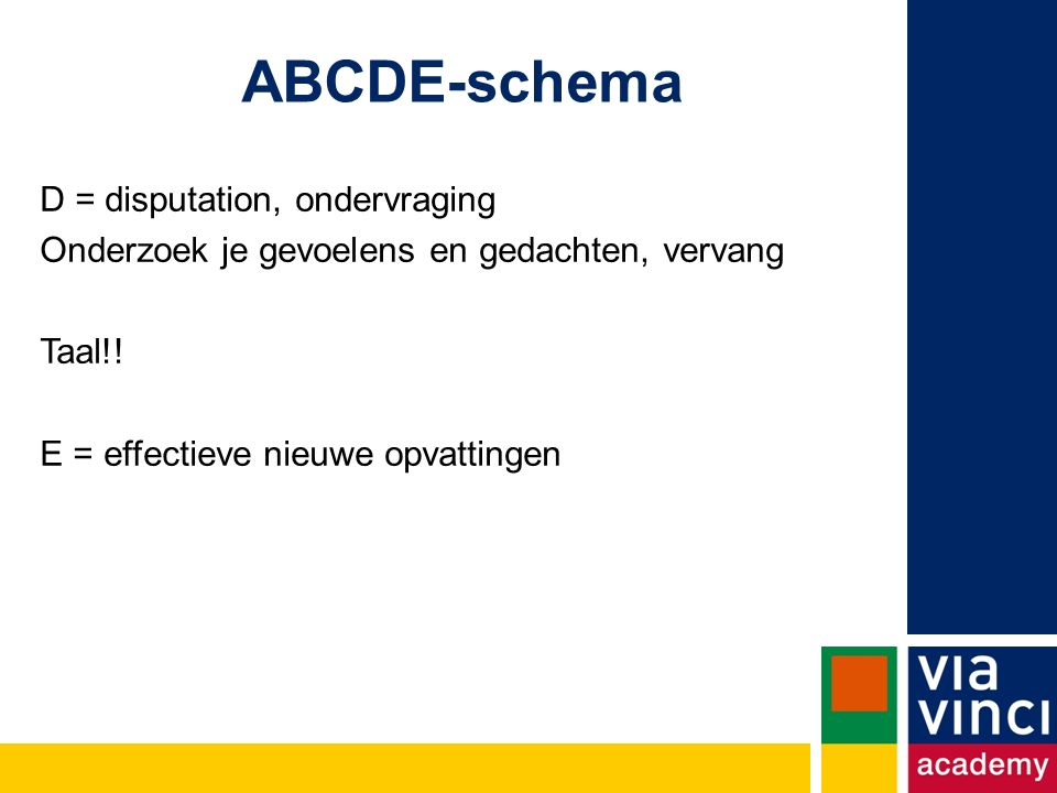 ABCDE-schema D = disputation, ondervraging