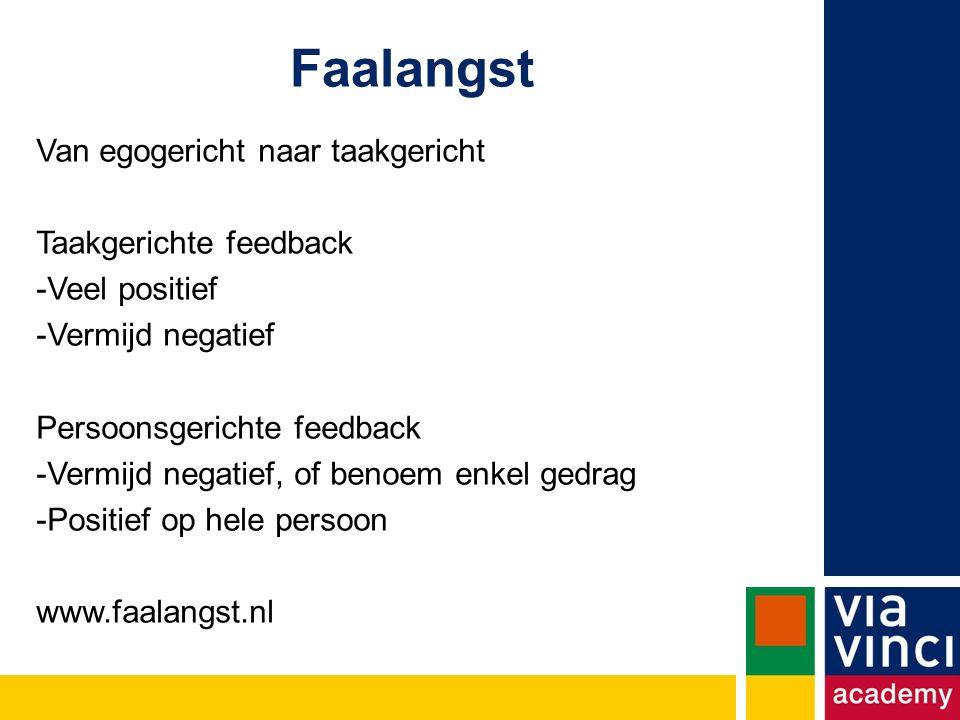 Faalangst Van egogericht naar taakgericht Taakgerichte feedback