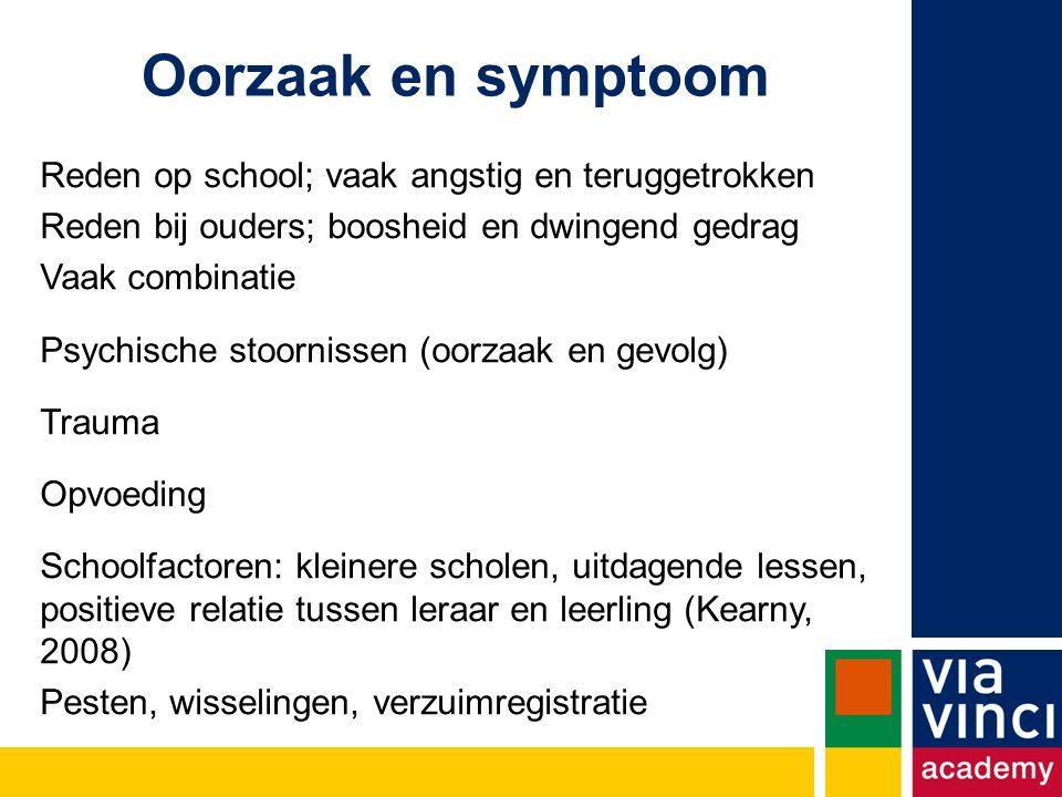 Oorzaak en symptoom Reden op school; vaak angstig en teruggetrokken