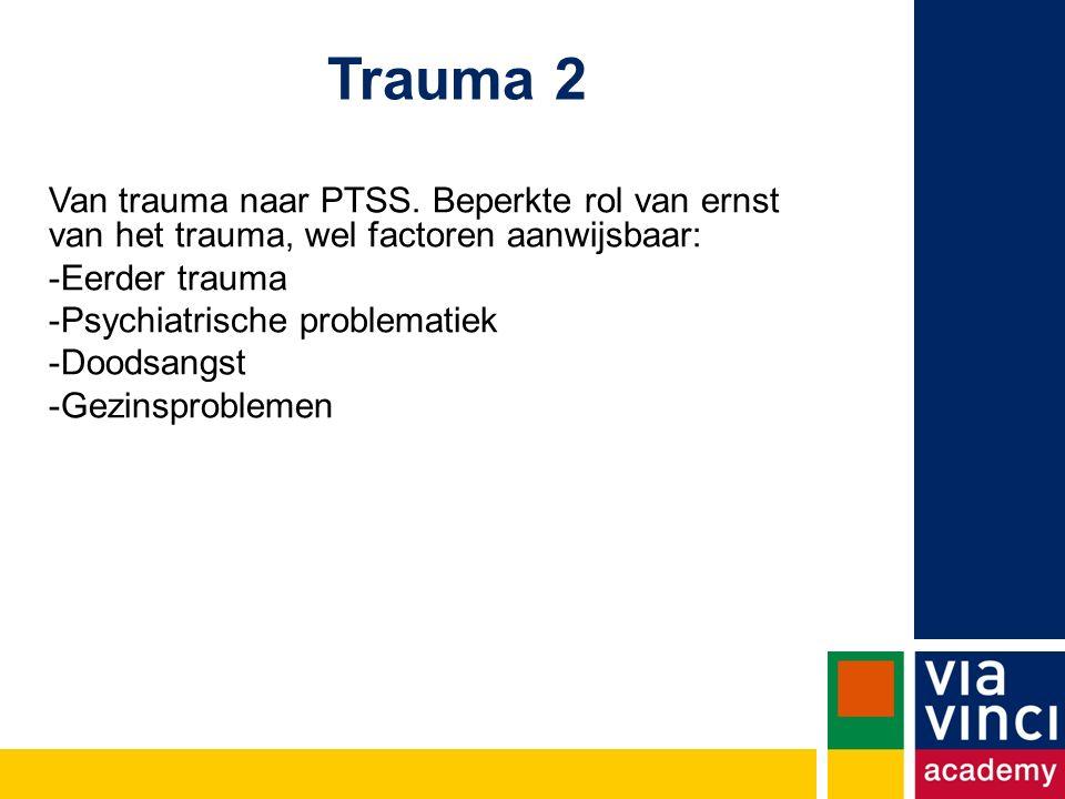 Trauma 2 Van trauma naar PTSS. Beperkte rol van ernst van het trauma, wel factoren aanwijsbaar: Eerder trauma.