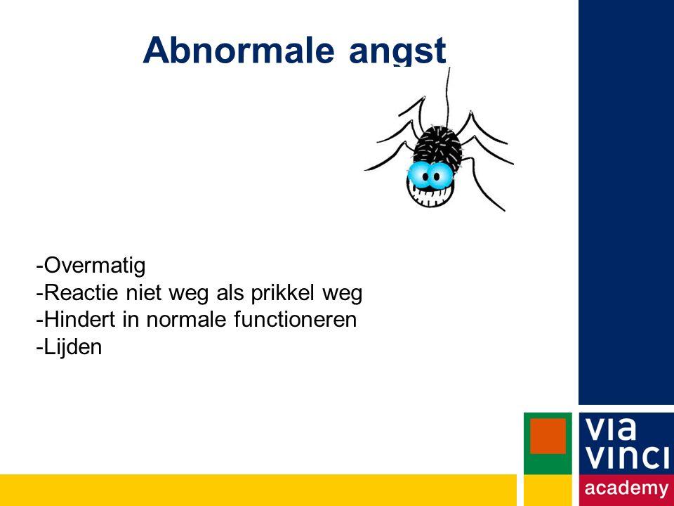 Abnormale angst Overmatig Reactie niet weg als prikkel weg