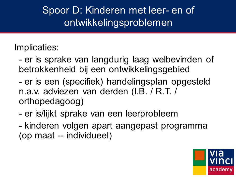 Spoor D: Kinderen met leer- en of ontwikkelingsproblemen