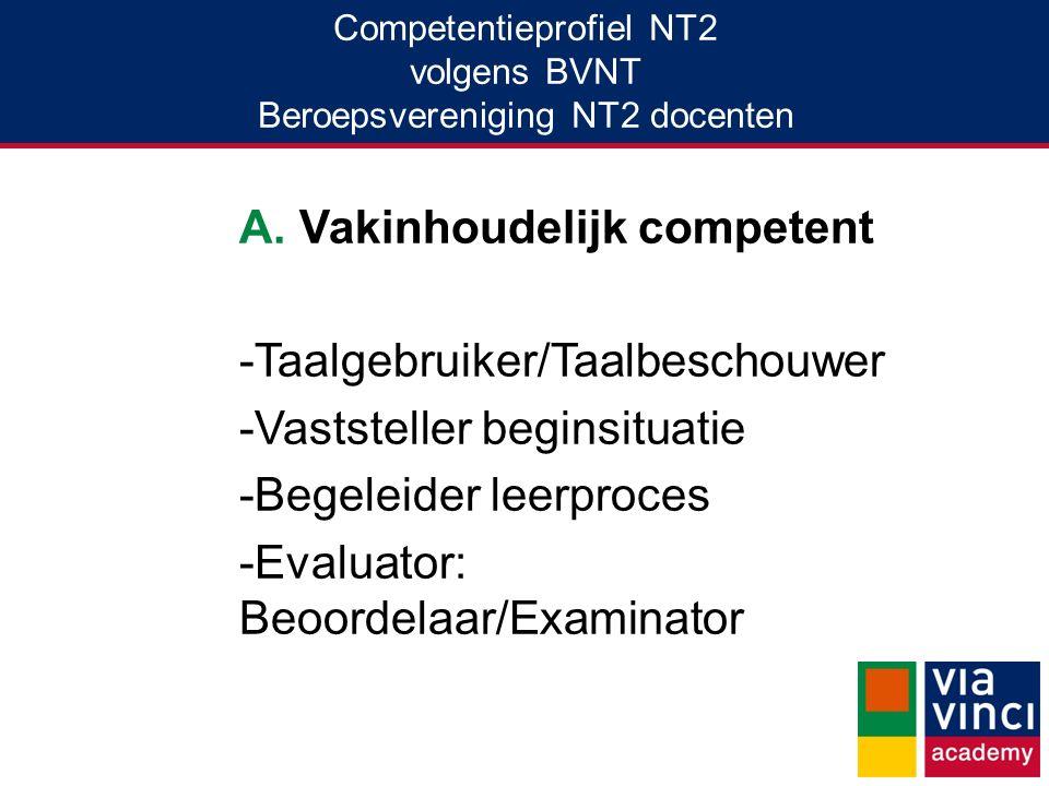 Competentieprofiel NT2 volgens BVNT Beroepsvereniging NT2 docenten