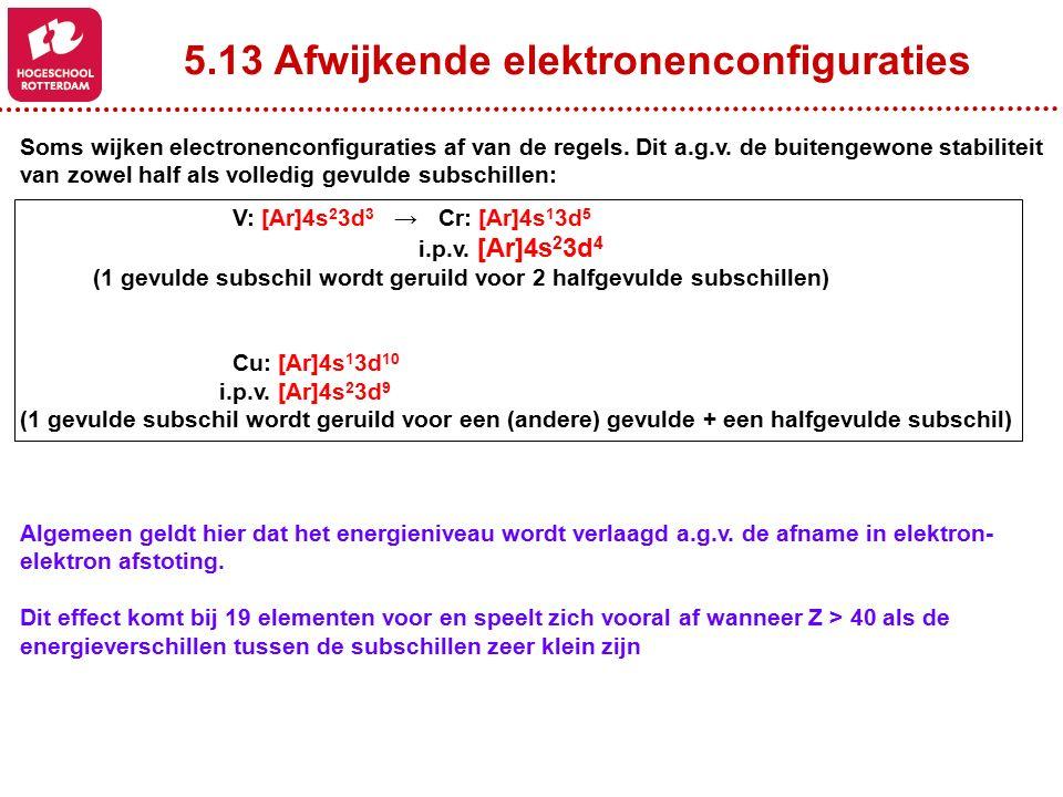 5.13 Afwijkende elektronenconfiguraties