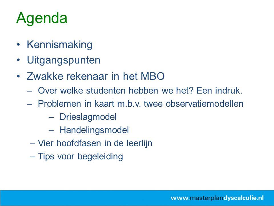 Agenda Kennismaking Uitgangspunten Zwakke rekenaar in het MBO