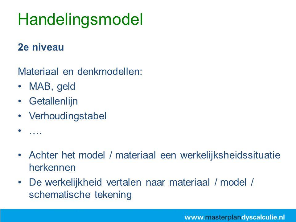 Handelingsmodel 2e niveau Materiaal en denkmodellen: MAB, geld