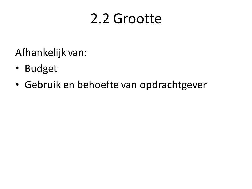 2.2 Grootte Afhankelijk van: Budget